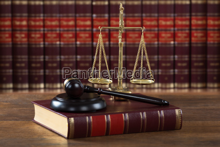mallet and legal book with justice