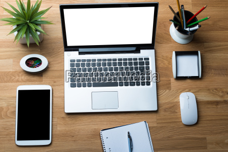 technologies with office supply on desk