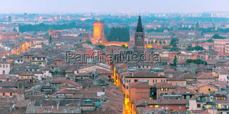verona skyline at night italy