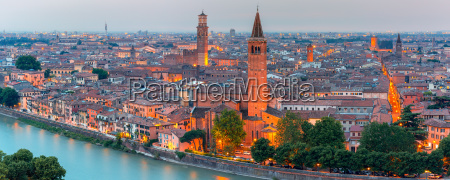 panorama of verona skyline at night
