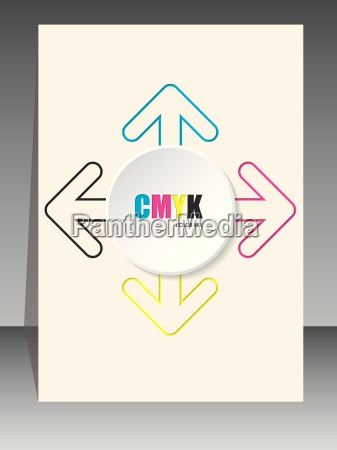 cmyk brochure with color arrow lines