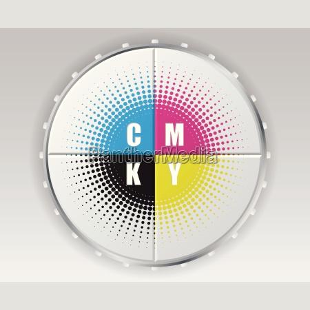 digital button with cmyk halftone