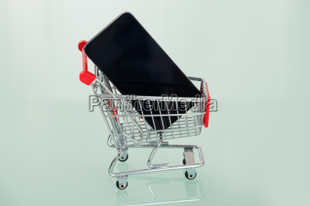 cell phone in shopping cart