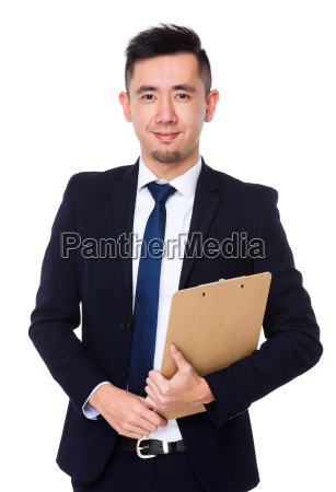 asian young businessman hold with clipboard