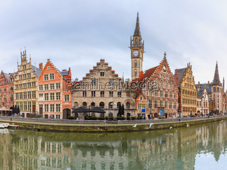 panorama of quay graslei in ghent