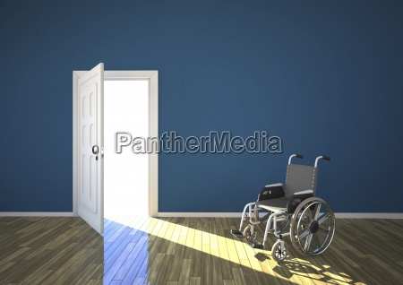 wheelchair and sunlight shining through open