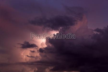 austria lightning during thunderstorm at night