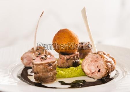 haute cuisine pork roulade spare ribs