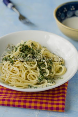 spaghetti with herbs cream sauce on