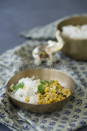 cooked basmati rice and yellow lentils