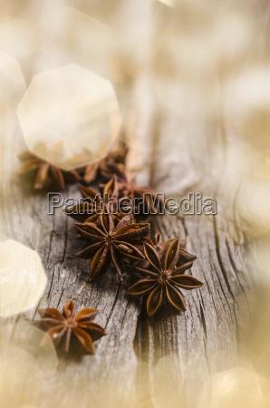star anise on wood