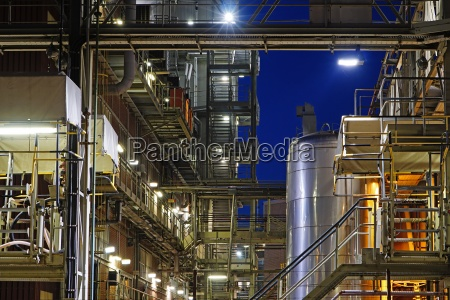 germany minden chemical plant at night