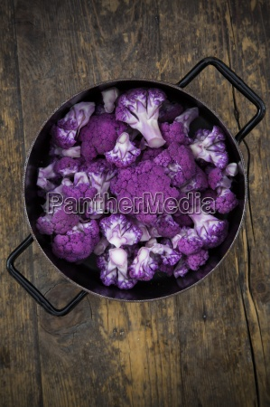 cooking pot of purple cauliflower florets