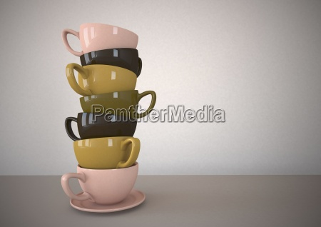 stack of multicolored coffee cups illustration