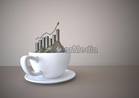 kaffeetasse mit erfolg diagrammillustration