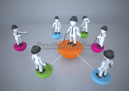 group of manikins standing on connected