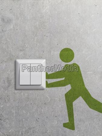 lichtschalter und piktogramm auf betonwand3d rendering