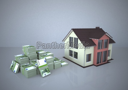 illustration house and money