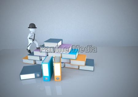 white manikin climbing stack of files