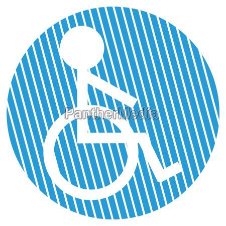 gestreifter kreis rollstuhl symbol