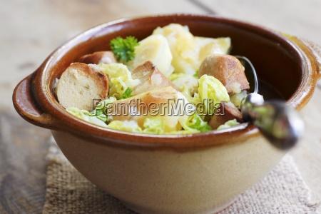 vegetarian stew with savoy cabbage parsnips