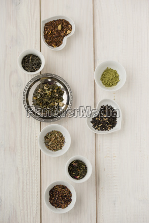 bowls of various sorts of tea
