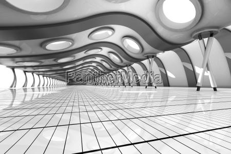 futuristic empty rooum with skylights 3d