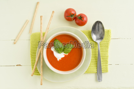 tomato cream soup with grissini