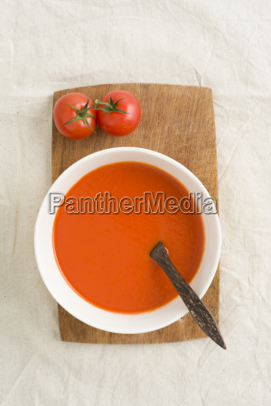 tomato cream soup in a soup