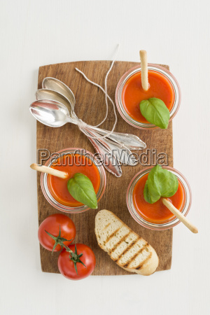tomato cream soup with grissini and