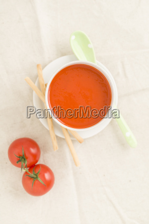 tomato cream soup in a cup