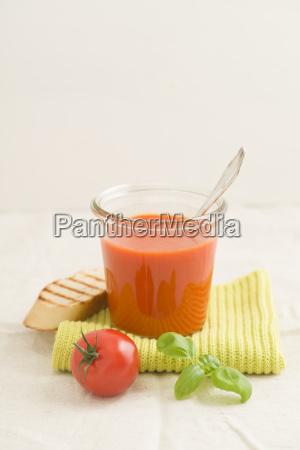 tomato cream soup in a glass