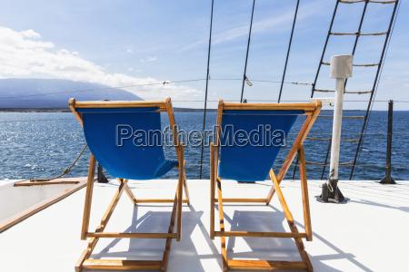 ecuador galapagos islands deck chairs on