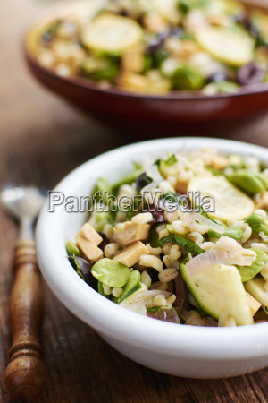 warm salad with field beans shallots