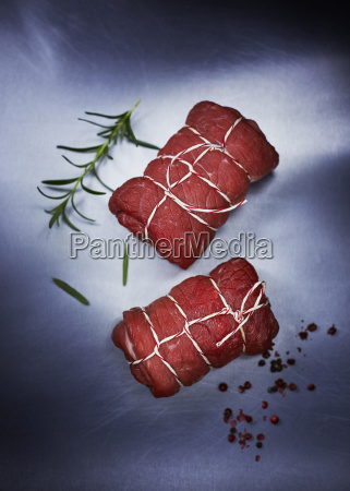 raw beef roulades pepper and rosemary
