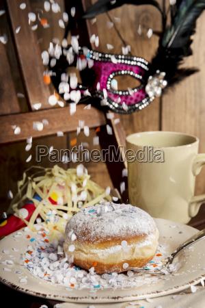bismarck doughnut confetti and carnival mask