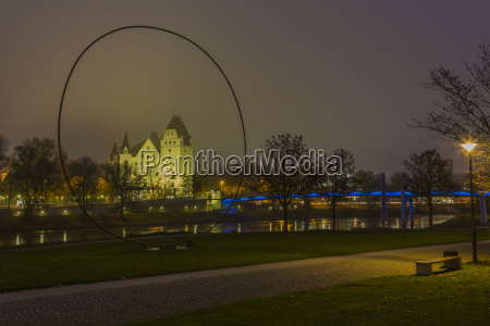 germany bavaria ingolstadt view to lighted
