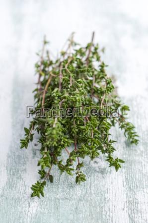 fresh thyme on wood