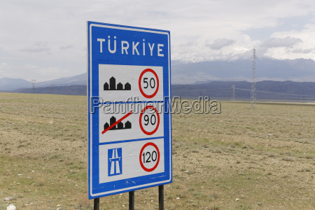 turkey dogubeyazit province speed limit sign
