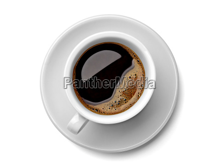 cup of black coffee on white
