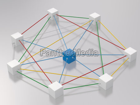 3d rendering of cubes tied up