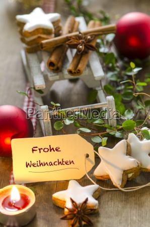 christmas decoration with miniature sledge tea