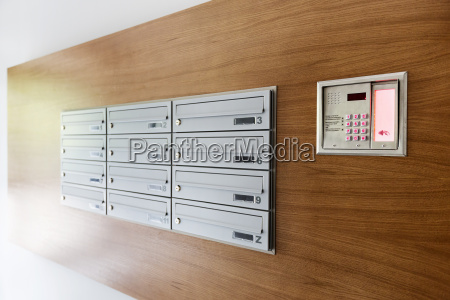 mailboxes and doorbell button panel of