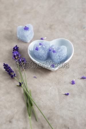 heart shaped lavender sugar