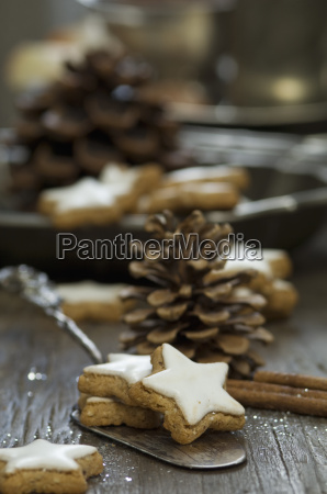 home baked cinnamon stars and fir