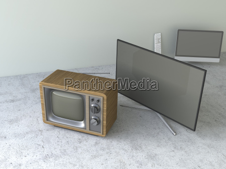 old fashioned tube television and modern