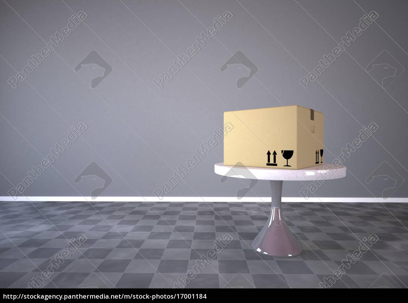 karton, auf, einem, runden, tisch, 3d-rendering - 17001184