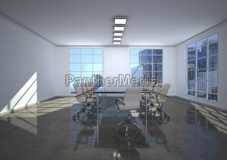 empty conference room 3d rendering