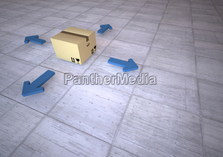 cardboard box with arrows 3d rendering