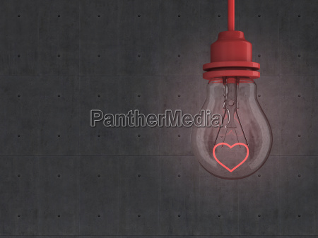 lightbulb with red heart in front